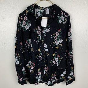 H&M Floral Black Button Top